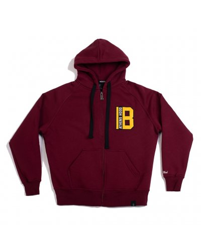 """A.H.B. BORDEAUX EMBROIDERED """"B"""" ZIP HOODIE"""