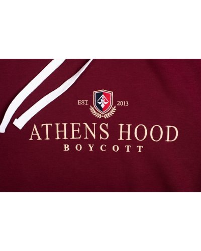 """A.H.B. BORDEAUX EMBROIDERED """"ATHENS STREET COLLEGE EMBLEM"""" HOODIE"""