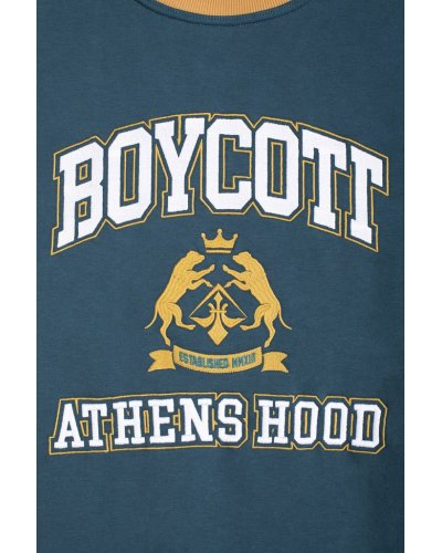 """A.H.B. 3 COLOR EMBROIDERED """"ATHENS STREET COLLEGE"""" CREWNECK"""