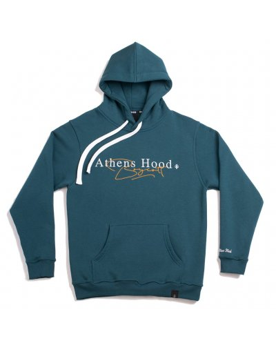 """A.H.B. CYPRESS GREEN EMBROIDERED """"CALLIGRAPHY"""" HOODIE"""