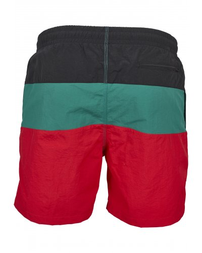 URBAN CLASSICS Color Block Swimshorts FIRE RED/BLK/GREEN